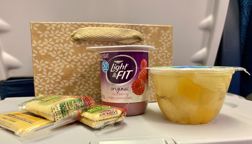 A snack bag served on Hawaiian Airlines Flight 89 from Boston to Honolulu.