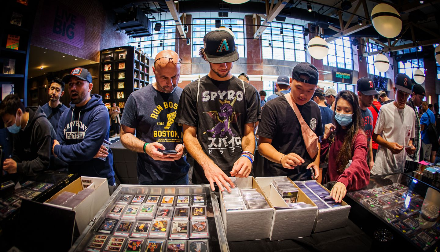 Collectors peruse the selection at the Causeway Card Show.