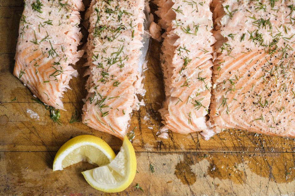 Oven-poached salmon with thyme, dill, and vermouth.