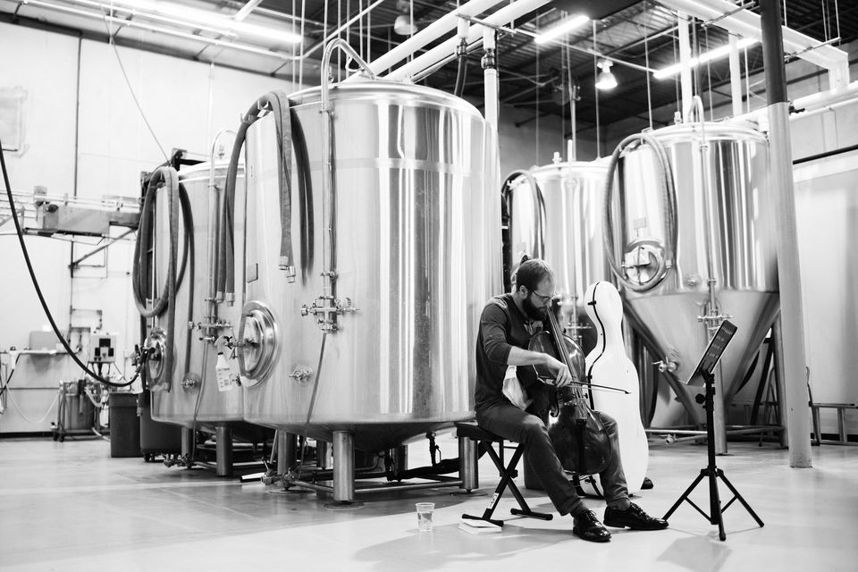 """Steuart Pincombe performing a """"Bach and Beer"""" show at Anthem Brewing Co. in Oklahoma City."""
