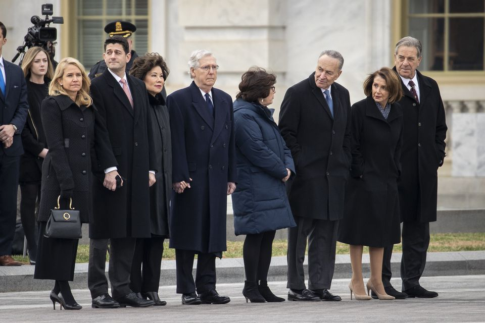 From left: Janna Ryan, Speaker of the House Paul Ryan, Transportation Secretary Elaine Chao, Senate Majority Leader Mitch McConnell, Iris Weinshall, Senate Minority Leader Chuck Schumer, House Minority Leader Nancy Pelosi and Paul Pelosi.