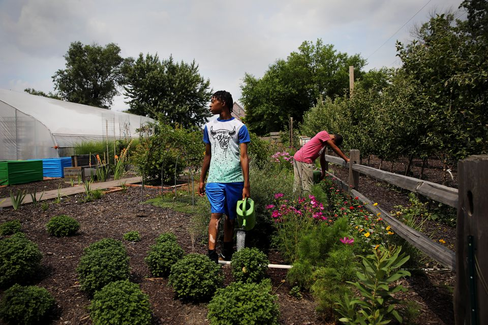Kevin Washington, 14, waters plants at the Michigan Urban Farming Initiative in Detroit. The farm has taken over three acres of vacant lots and turned them into a green oasis of fruit trees, vegetables, and a sensory garden. Solely run by volunteers, the farm gives back all of the produce to the community for free.