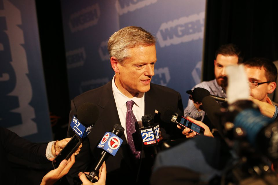 The debate was the second in the governor's race, with a third and last forum set for Nov. 1. Baker spoke after Wednesday's debate in Boston.