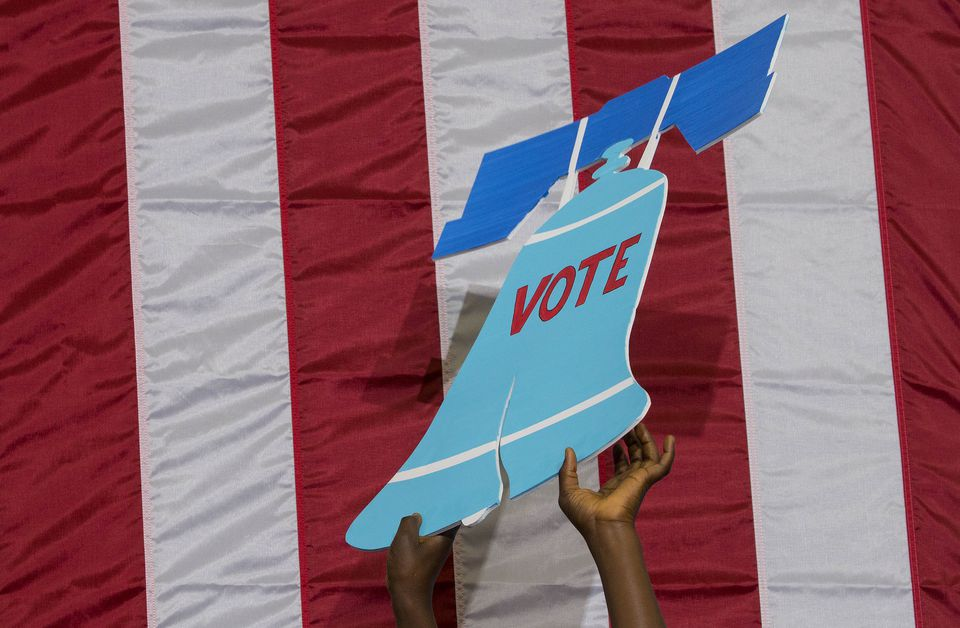 A Liberty Bell sign at a Democratic voter registration drive in Philadelphia.