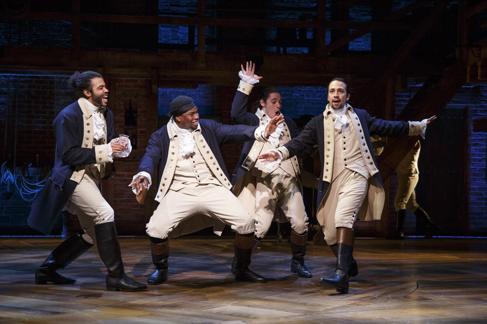 Regulators say two New York men ran a $51 million Ponzi scheme that involved buying blocks of concert and theater tickets, including Broadway's hit musical Hamilton (above).