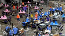 Maricopa County ballots cast in the 2020 general election were examined  May 6, 2021 and recounted by contractors working for Florida-based company, Cyber Ninjas at Veterans Memorial Coliseum in Phoenix.