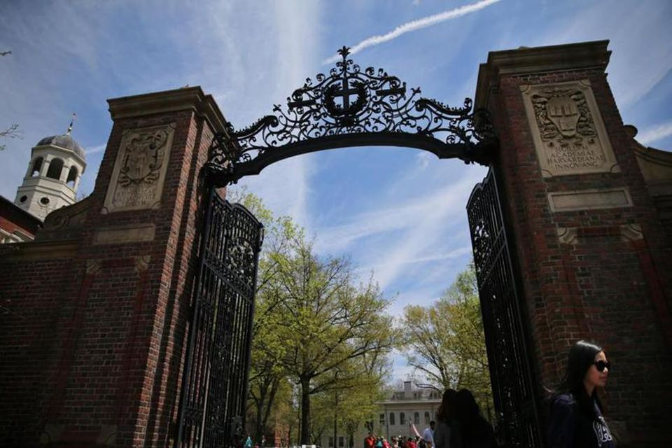 The Johnston Gate at Harvard Yard in Cambridge.