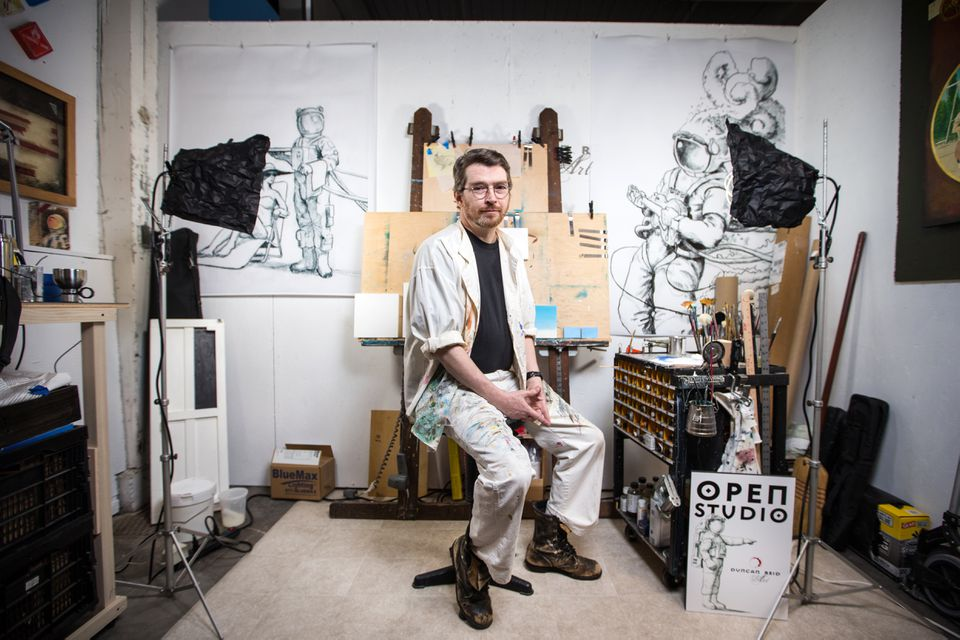 "Artist Duncan Reid in his studio. The site is being filled mostly by tenants — officially known as ""members"" — in creative fields."