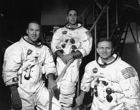 The Apollo 8 crew: James Lovell (left), Bill Anders, and mission commander Frank Borman.
