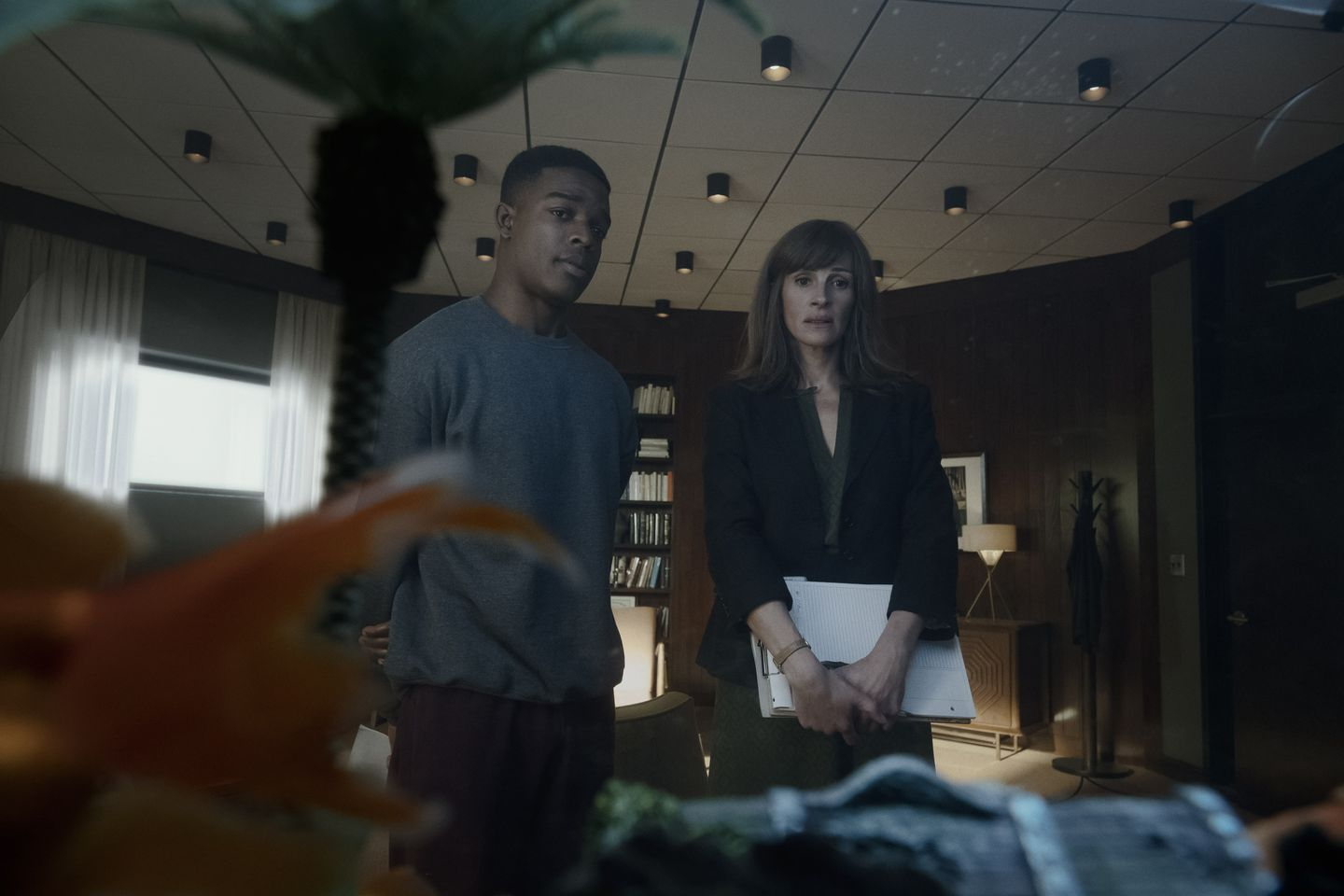 """Stephan James and Julia Roberts in Amazon's """"Homecoming."""""""