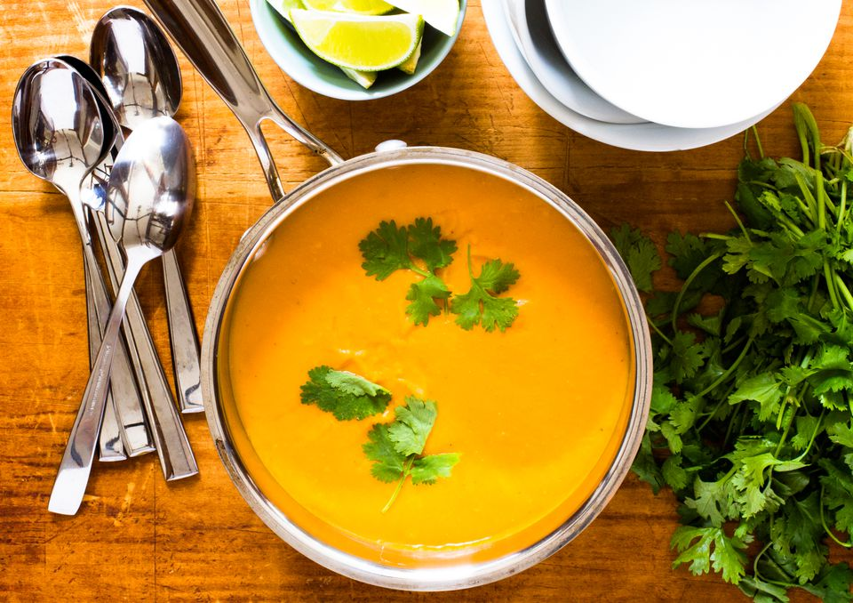 Thai-spiced sweet potato soup with red lentils.