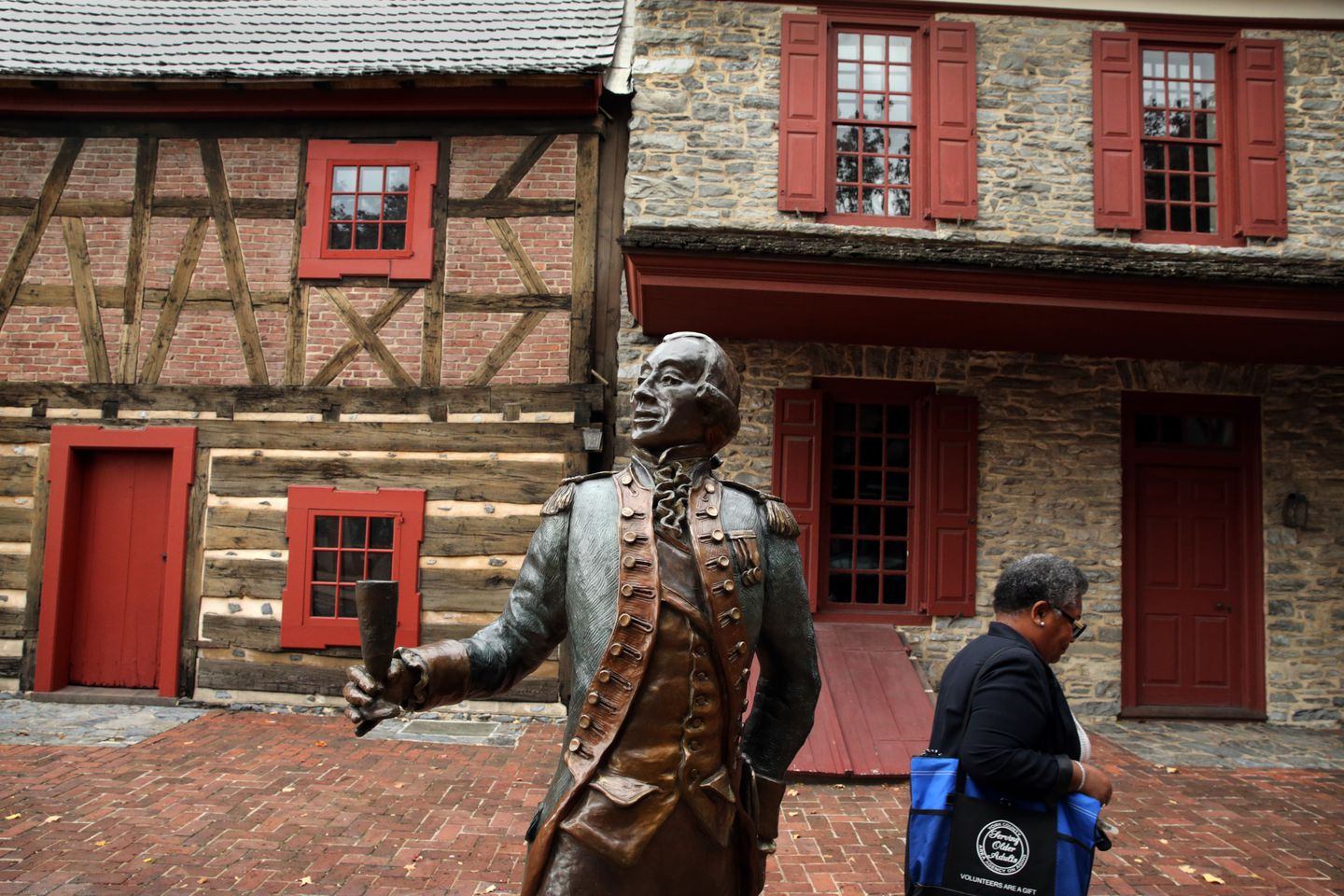 A statue of General Marquis de Lafayette stood outside Golden Plough Tavern and the Gates House, two of the oldest historical buildings in downtown York.
