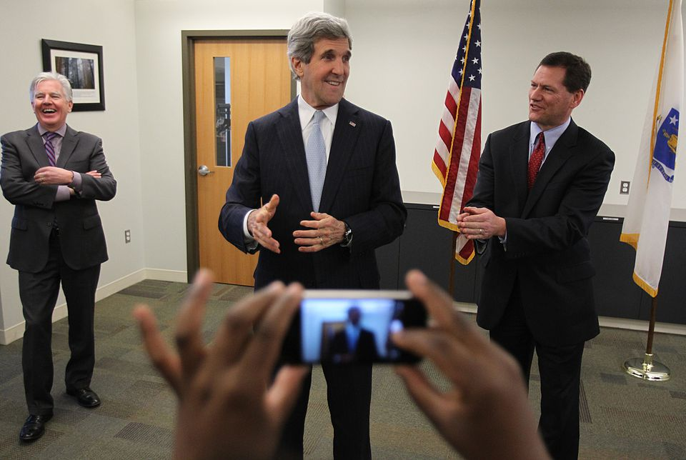 Middlesex District Attorney Gerard T. Leone hosted John Kerry. To the left is former Representative Marty Meehan, currently the chancellor of UMASS Lowell.