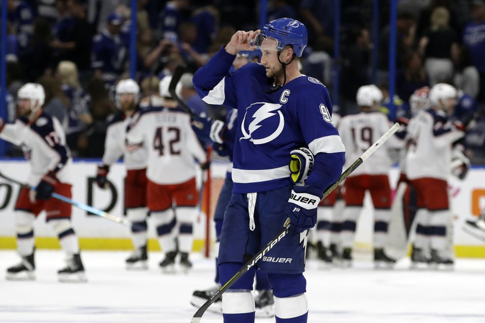 Steven Stamkos and the Lightning were swept out of the first round of the NHL playoffs by the Columbus Blue Jackets.