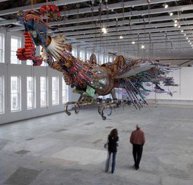 "One of two giant birds now at Mass MoCA in the exhibit ""Xu Bing: Phoenix."""