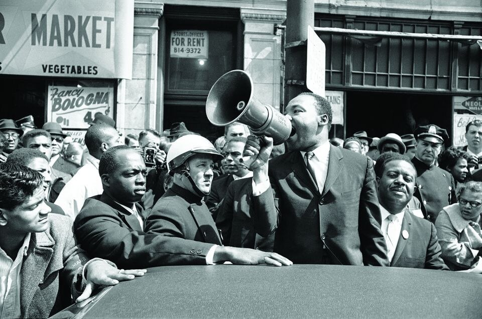 Dr. Martin Luther King Jr. addressed a crowd in Roxbury on April 22, 1965.