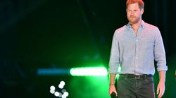"""Prince Harry, Duke of Sussex, arrived to speak during the taping of the """"Vax Live"""" fundraising concert in California on May 2."""