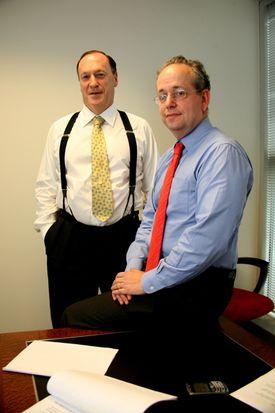 Steven Brill (left) and L. Gordon Crovitz.