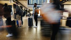 Travelers waited in a bag drop line in the ticketing area at the Seattle-Tacoma International Airport.