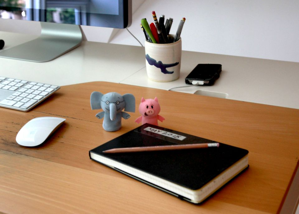 Items on the desk of children's book author Mo Willems.