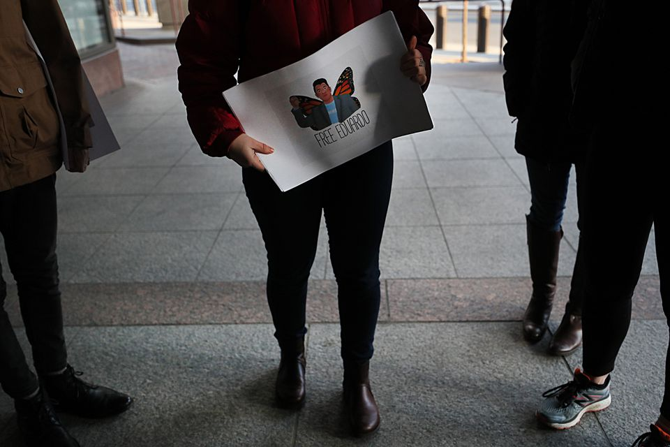 Bar Kolodny, a friend of Eduardo Samaniego, took a petition seeking his release to the ICE offices in downtown Boston on Wednesday.
