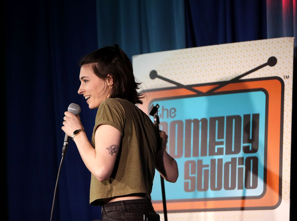 Julia Corsetti, who is reviving her comedy career while bartending at the lounge, performs.