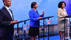From left, Boston mayoral candidates John Barros, Andrea Campbell, and Kim Janey participated in a debate on Sept. 8.