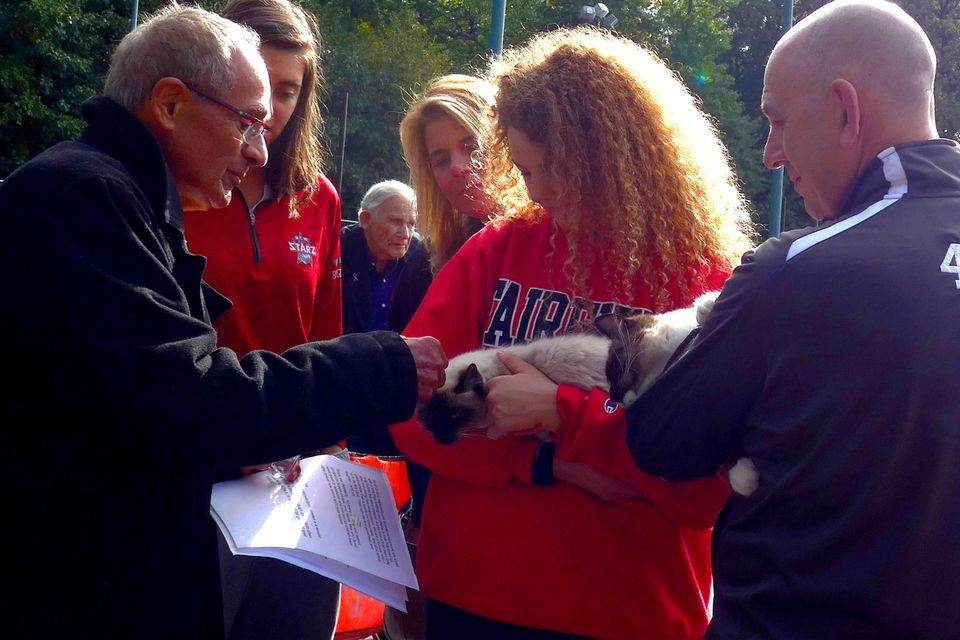 Kaleel Sakakeeny blessed a cat named Cantaloupe during the Blessing of the Animals in honor of the Feast of St. Francis in a Billings Field nearby Stratford Street United Church in West Roxbury on Oct. 14.