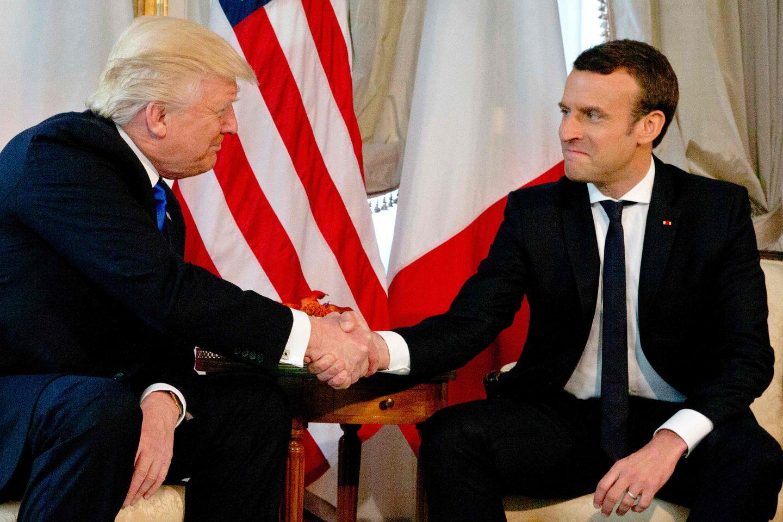 France S Emmanuel Macron Just Won T Let Go Of Trump S Handshake The Boston Globe