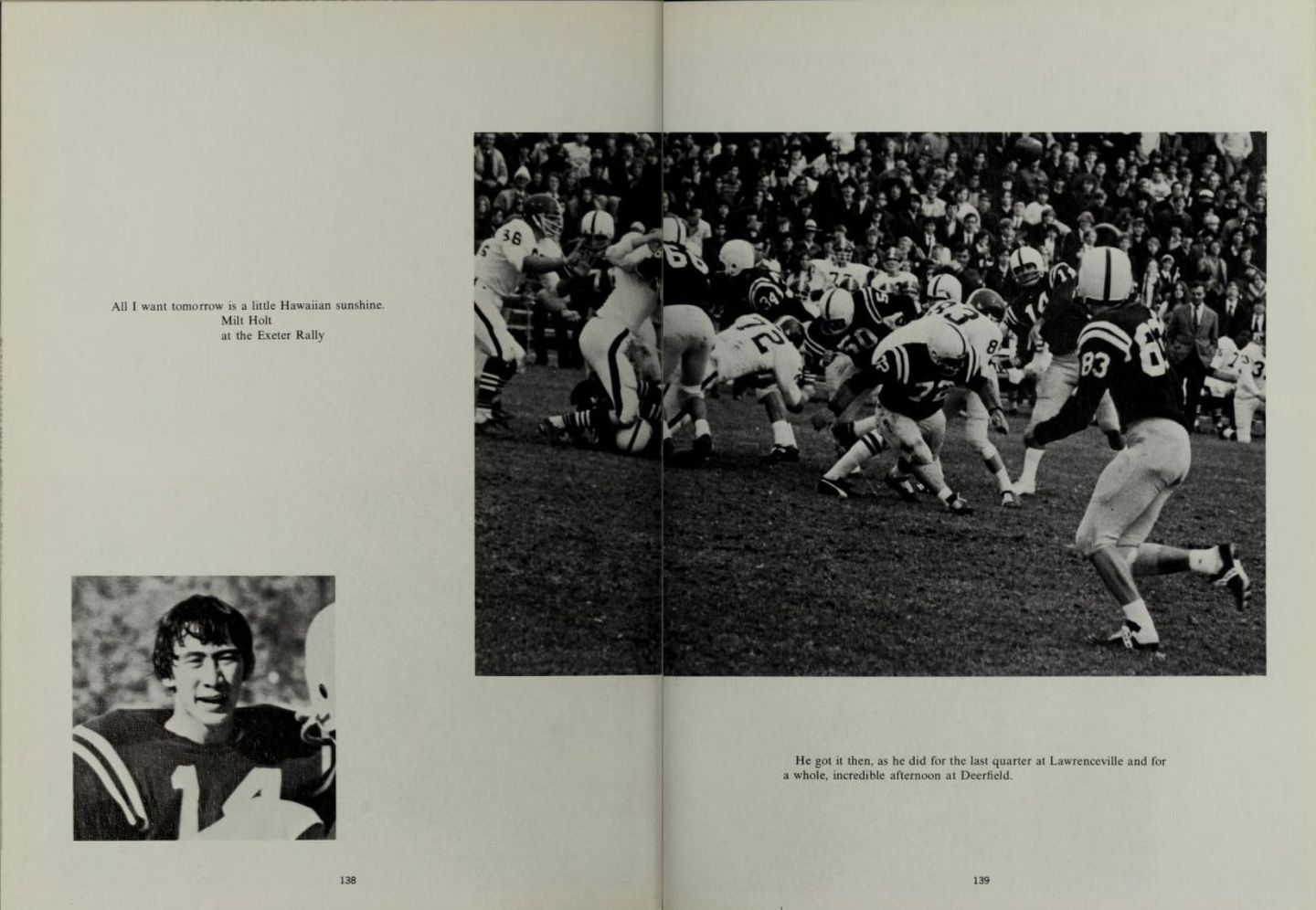 An Andover yearbook spread dedicated to quarterback Milt Holt.