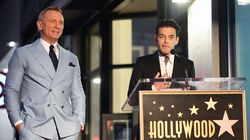 Actor Daniel Craig (left) and Rami Malek on the Hollywood Walk of Fame in Los Angeles, California, on October 6, 2021.