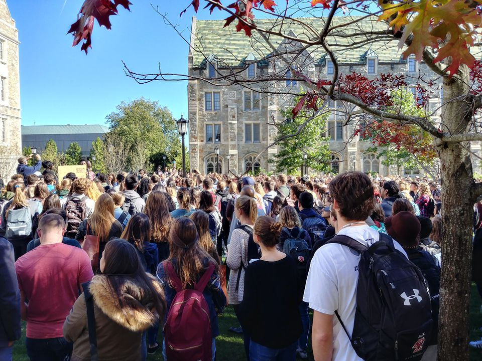 Hundreds of Boston College students walked out of classes Wednesday.