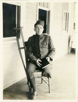 The VA grew from efforts to help rehabilitate WWI soldiers, like the private seen here.