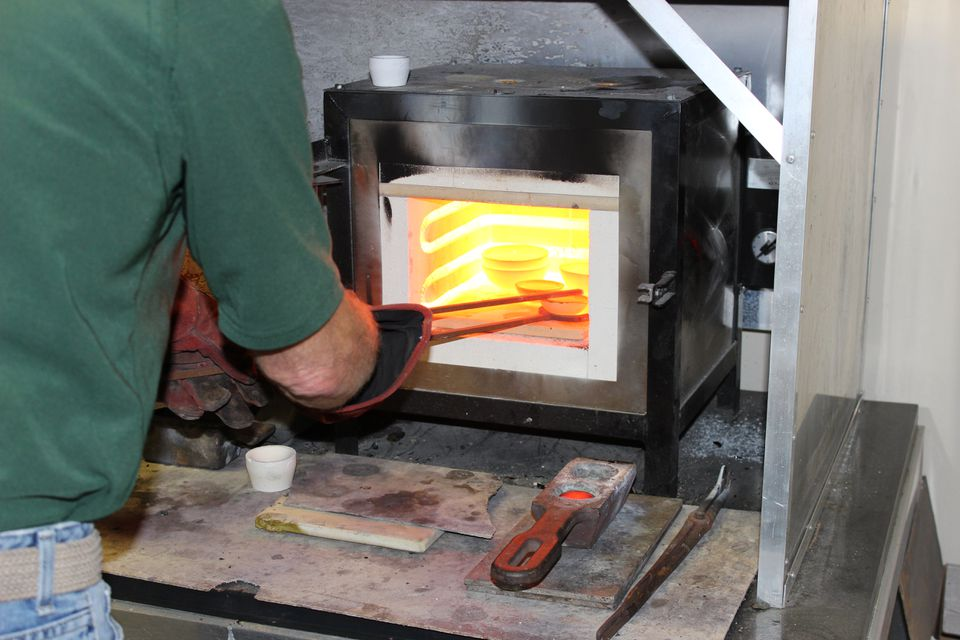 Allan Nyborn of Precious Metals Reclaiming Service in Florida tested gold in preparation for melting.