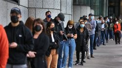 A line of people waited outside Hynes Convention Center for a COVID vaccine last week.