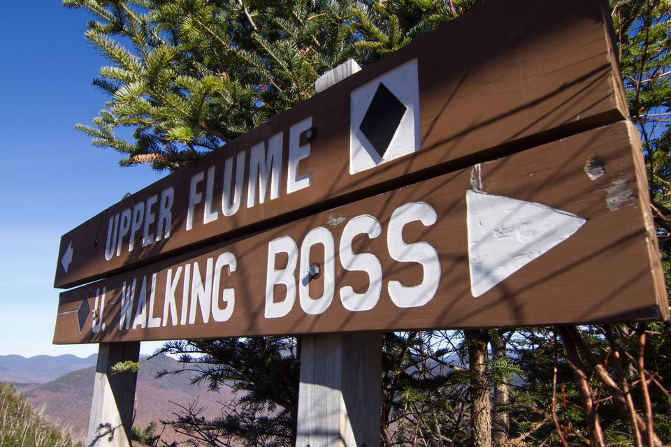 A ski trail sign at Loon Mountain Resort.