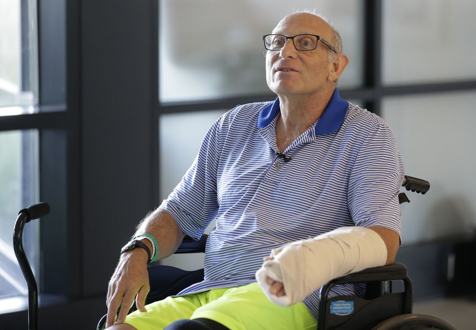 Shark attack victim William Lytton spoke Tuesday at Spaulding Rehabilitation Hospital, where he is being treated.