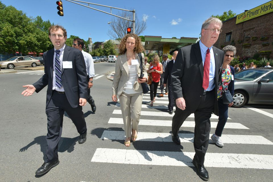 Developers and officials recently toured Union Square to look at housing and mixed-use development opportunities.