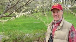 Mr. Turner, on a bird-watching stroll in the Arnold Arboretum.