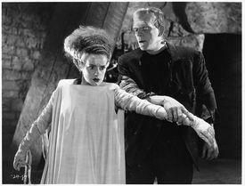 """This undated photo, released by AMC, shows Elsa Lanchester and Boris Karloff in the 1935 film """"The Bride of Frankenstein."""" The movie is among those to be aired on AMC during its 10th annual """"Monsterfest,"""" which arrives Oct. 22. (AP Photo/2004 Universal Television Distribution. All Rights Reserved.)"""