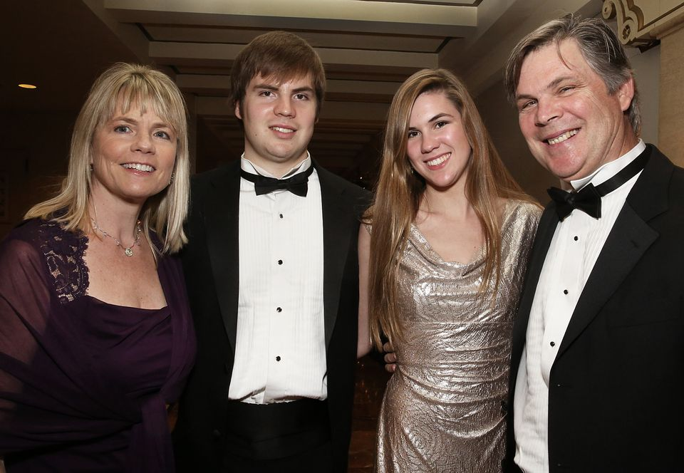 Kathy Fuller with son Peter, daughter Katie, and husband Peter, all of Belmont.
