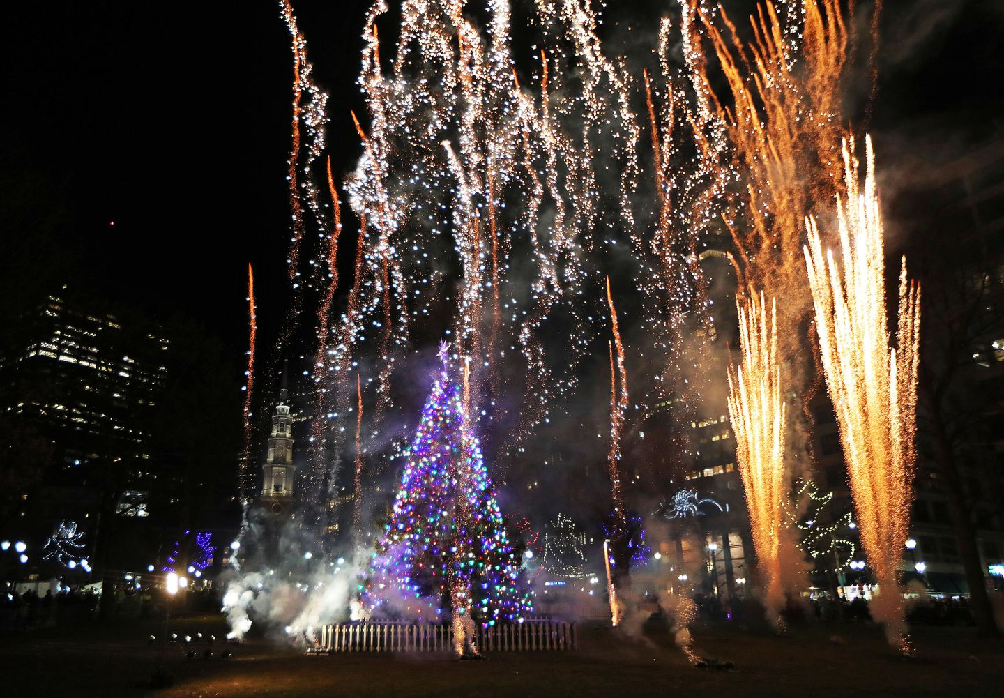 Thousands Celebrate Tree Lighting On Boston Common Many For
