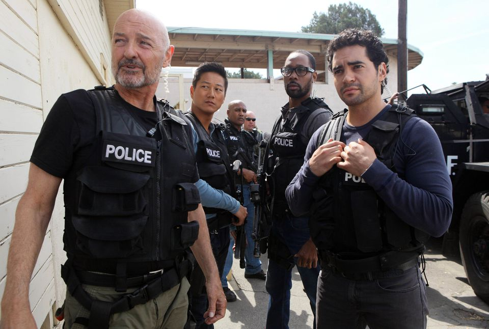 """Ramon Rodriguez stars as detective Ryan Lopez (right, with Terry O'Quinn as his task force boss) in """"Gang Related."""""""