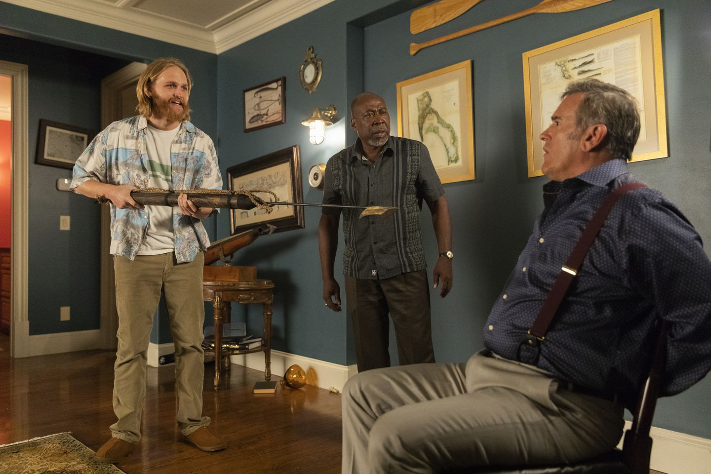 """From left, Wyatt Russell, Brent Jennings, and Bruce Campbell in AMC's """"The Lodge."""""""