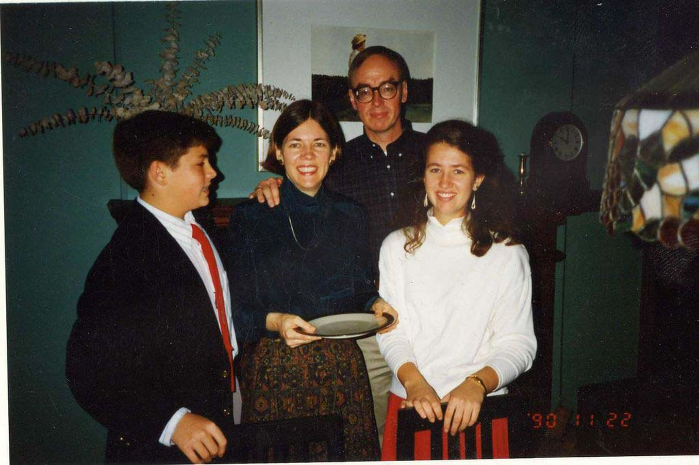 Warren celebrated the holidays with, from left, her son, Alex; husband, Bruce Mann; and daughter, Amelia.