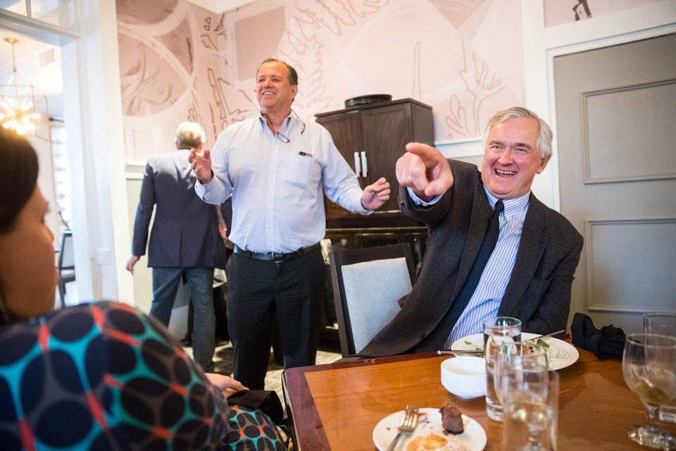 Dr. John Quinn (left) teased John Bullard (right) after Bullard's final meeting with the New England Fishery Management Council.