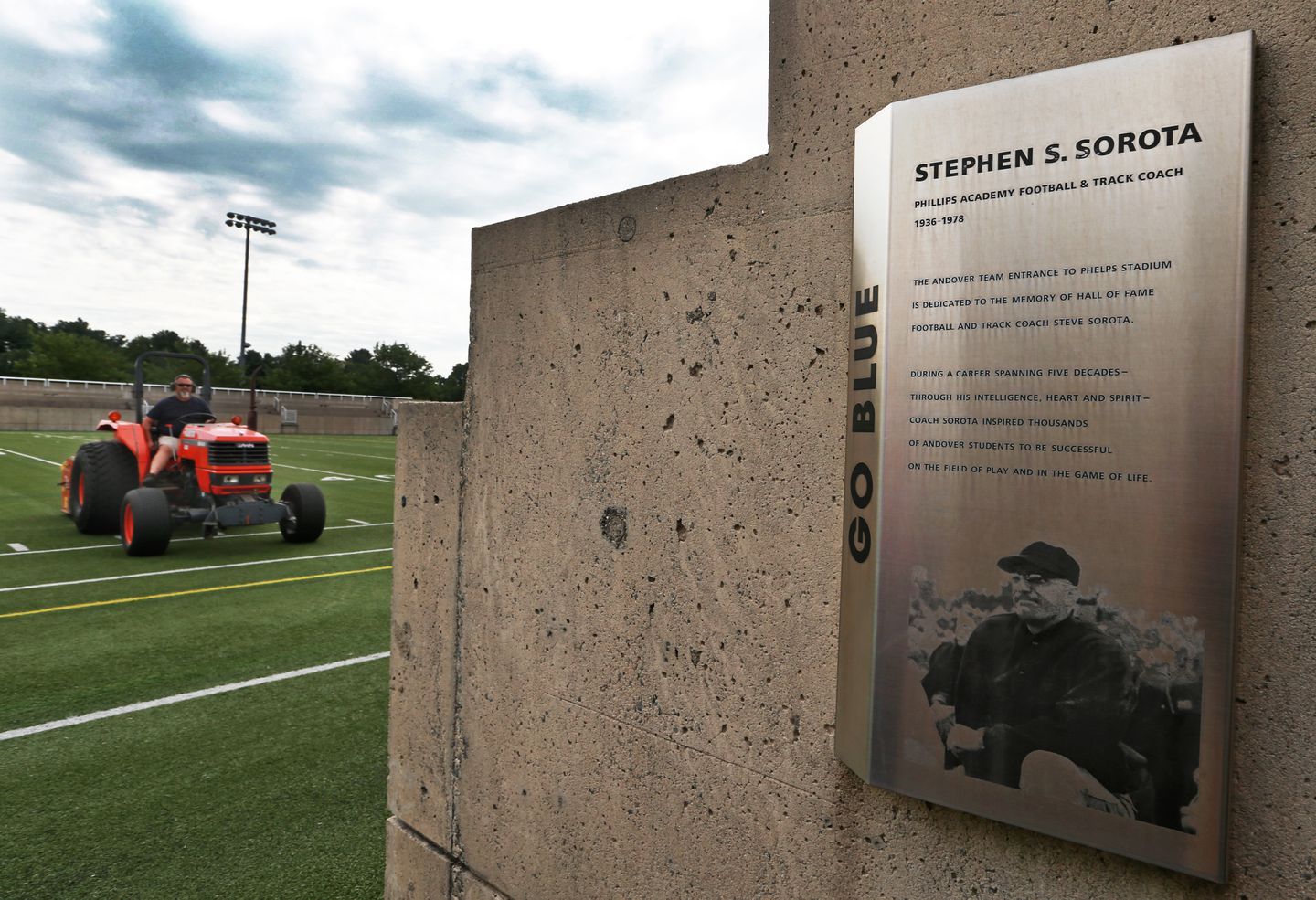 A plaque at the Phillips Academy football field honors Steve Sorota.
