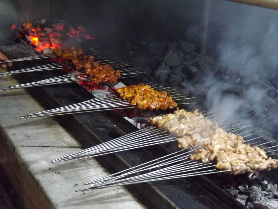 Kebabs grilled over charcoals at a restaurant in Sanliurfa, Turkey.