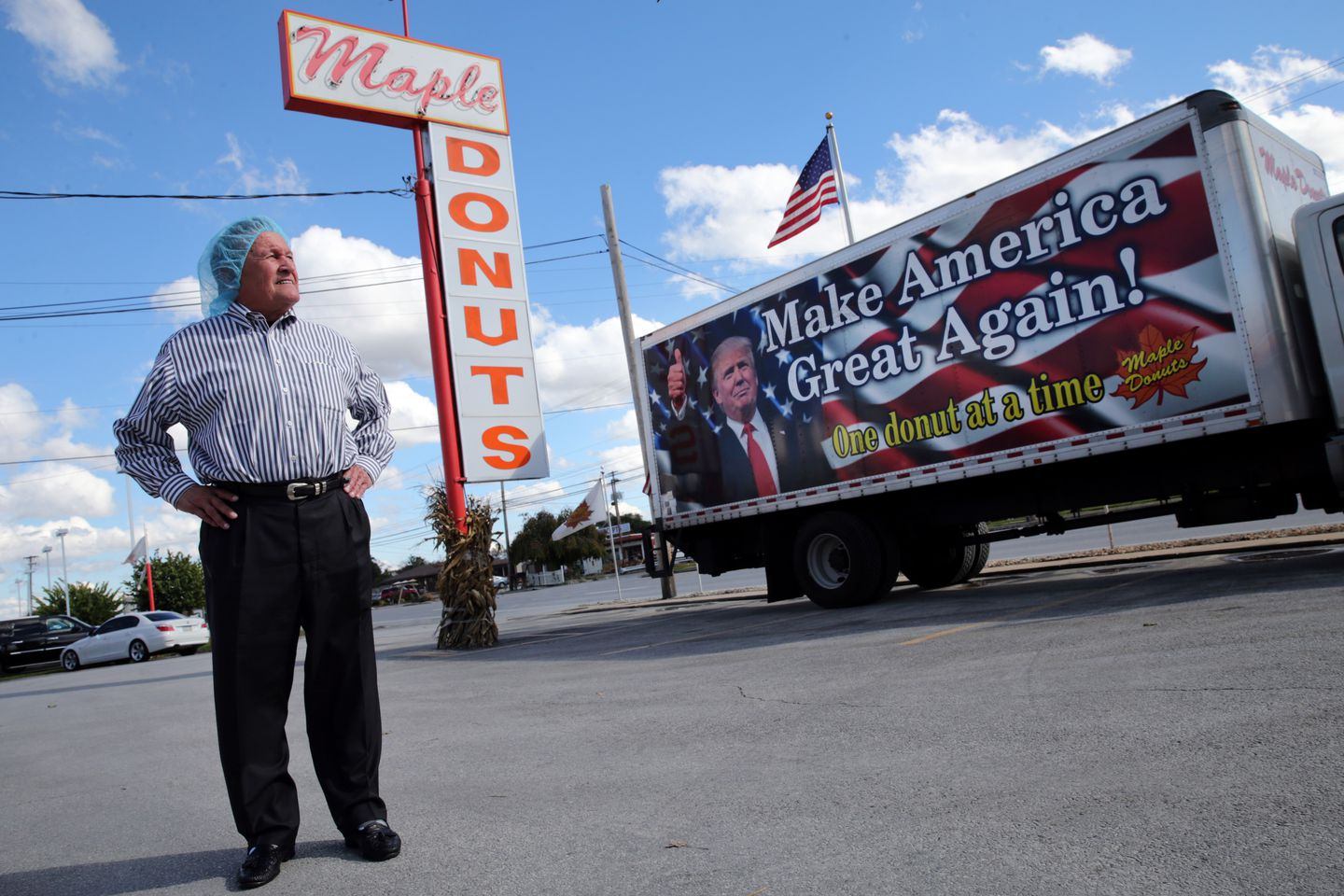 Charles Burnside, owner of Maple Donuts in York, was proud to show off his support for Donald Trump with a sign on one of his trucks.