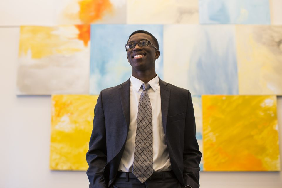 Bunker Hill student Smucker Almonord is an intern at State Street Corp. in Boston.